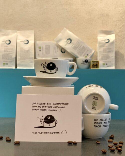 1.Bohnengebot  <br>Rudi Klein – Kaffeefabrik Tasse – 200ml <br>